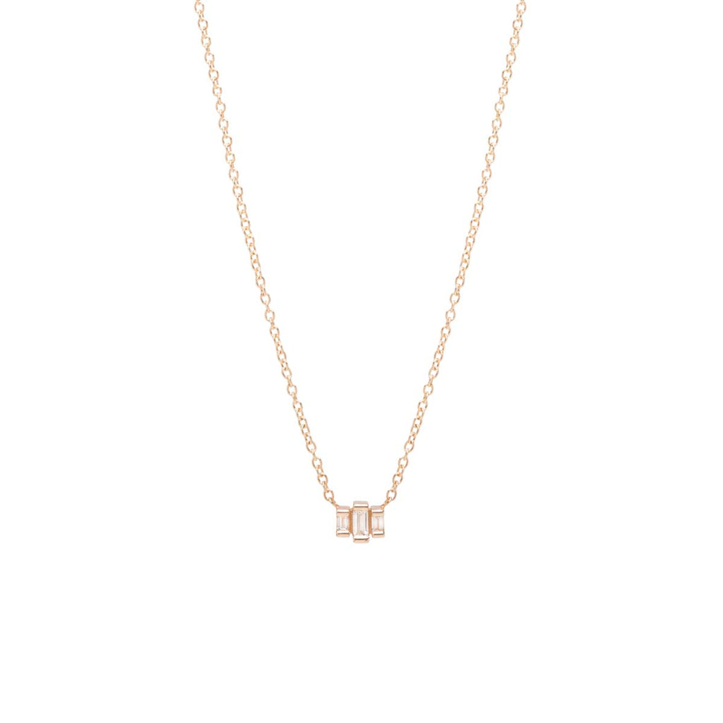 Zoë Chicco 14kt Yellow Gold 3 Stepped White Baguette Diamond Necklace