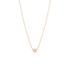 Zoë Chicco 14kt Rose Gold 3 Stepped White Baguette Diamond Necklace
