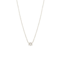 Zoë Chicco 14kt White Gold 3 Stepped White Baguette Diamond Necklace