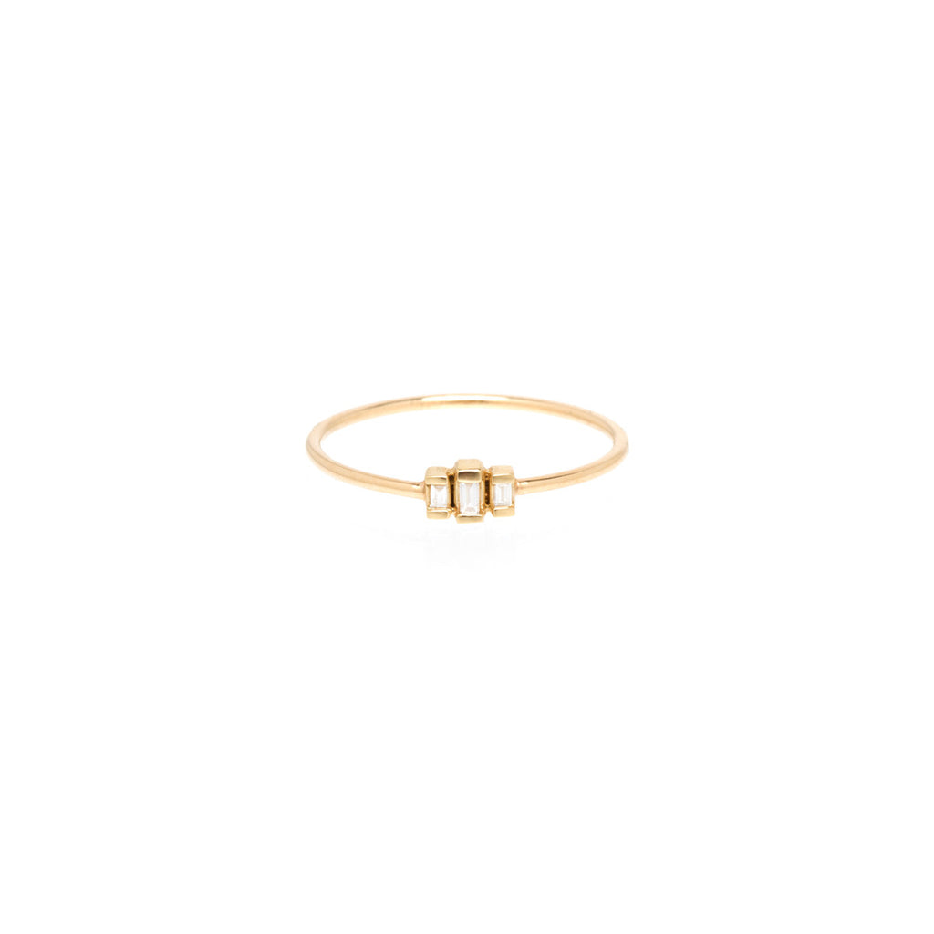 Zoë Chicco 14kt Yellow Gold 3 Stepped White Baguette Diamond Ring