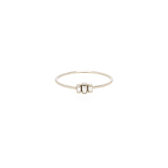 Zoë Chicco 14kt White Gold 3 Stepped White Baguette Diamond Ring
