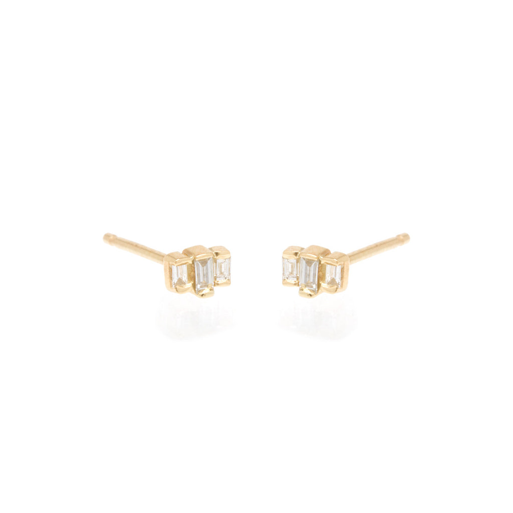14k 3 stepped baguette diamond studs