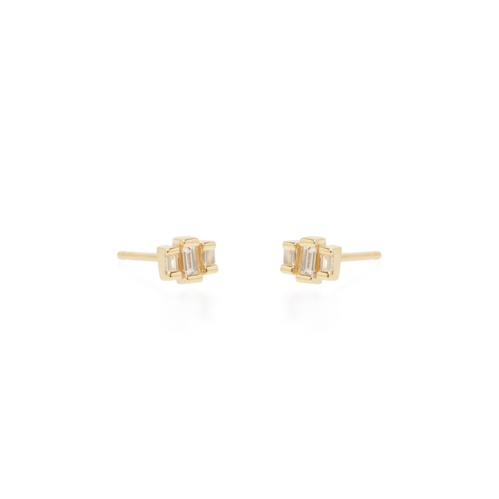 Zoë Chicco 14kt Yellow Gold 3 Stepped White Baguette Diamond Stud Earrings