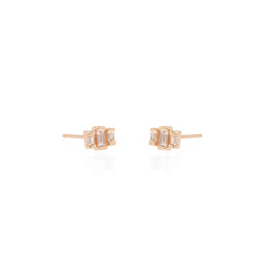 Zoë Chicco 14kt Rose Gold 3 Stepped White Baguette Diamond Earrings