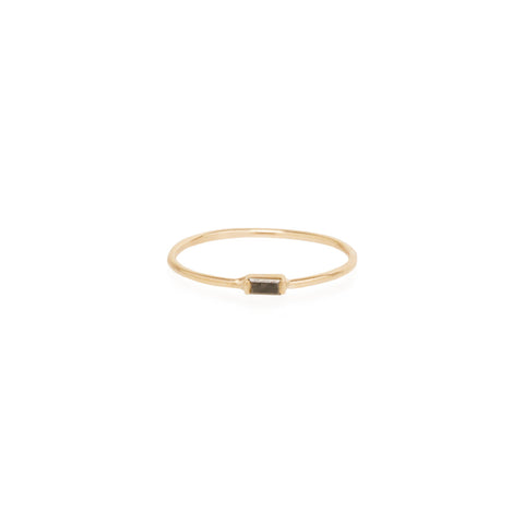 14k horizontal black baguette ring