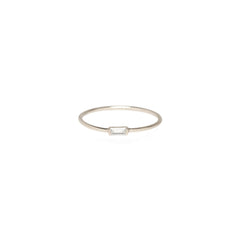Zoë Chicco 14kt White Gold Horizontal Baguette Diamond Ring