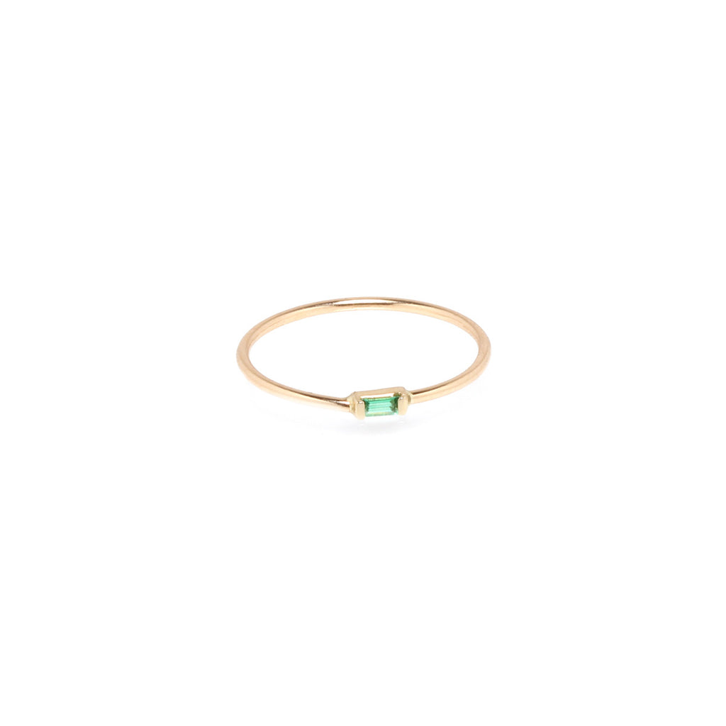 Zoë Chicco 14kt Yellow Gold Horizontal Emerald Baguette Ring