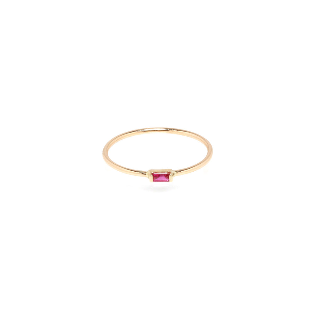 Zoë Chicco 14kt Yellow Gold Horizontal Ruby Baguette Ring