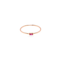 Zoë Chicco 14kt Rose Gold Horizontal Ruby Baguette Ring