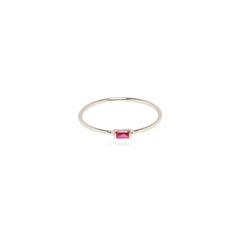 Zoë Chicco 14kt White Gold Horizontal Ruby Baguette Ring