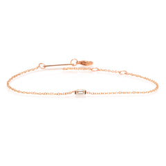 14k small diamond baguette bracelet