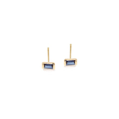 Zoë Chicco 14kt Yellow Gold Blue Sapphire Baguette Stud Earrings