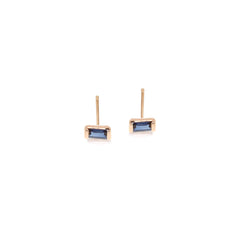 Zoë Chicco 14kt Rose Gold Blue Sapphire Baguette Stud Earrings