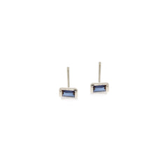 Zoë Chicco 14kt White Gold Blue Sapphire Baguette Stud Earrings