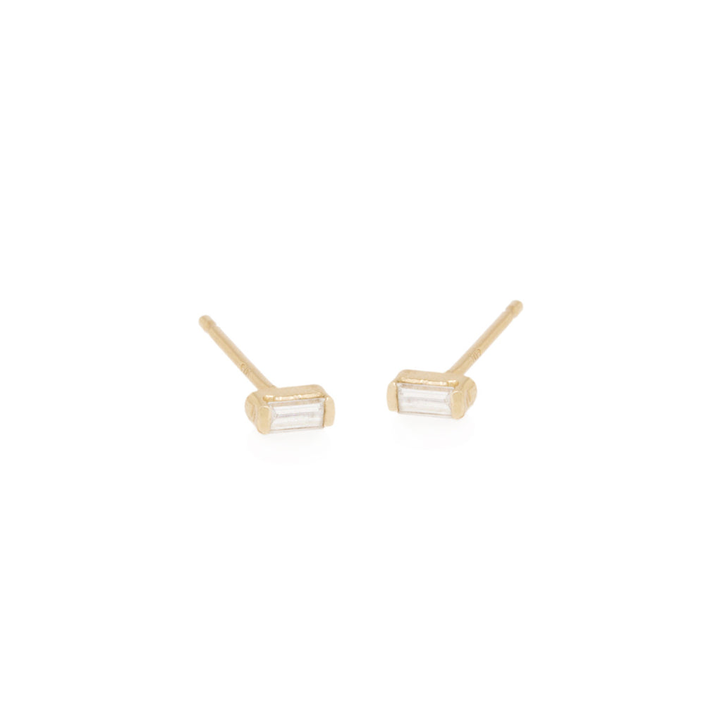 Zoë Chicco 14kt Yellow Gold White Diamond Baguette Stud Earrings