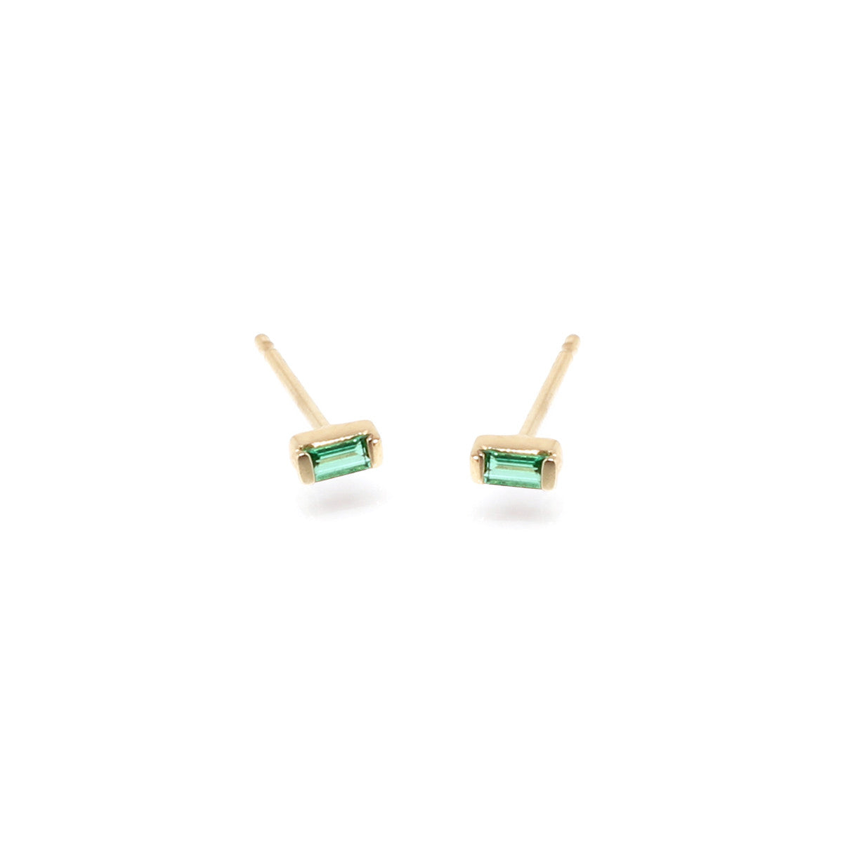 Zoë Chicco 14kt Yellow Gold Emerald Baguette Stud Earrings