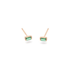 Zoë Chicco 14kt Rose Gold Emerald Baguette Stud Earrings