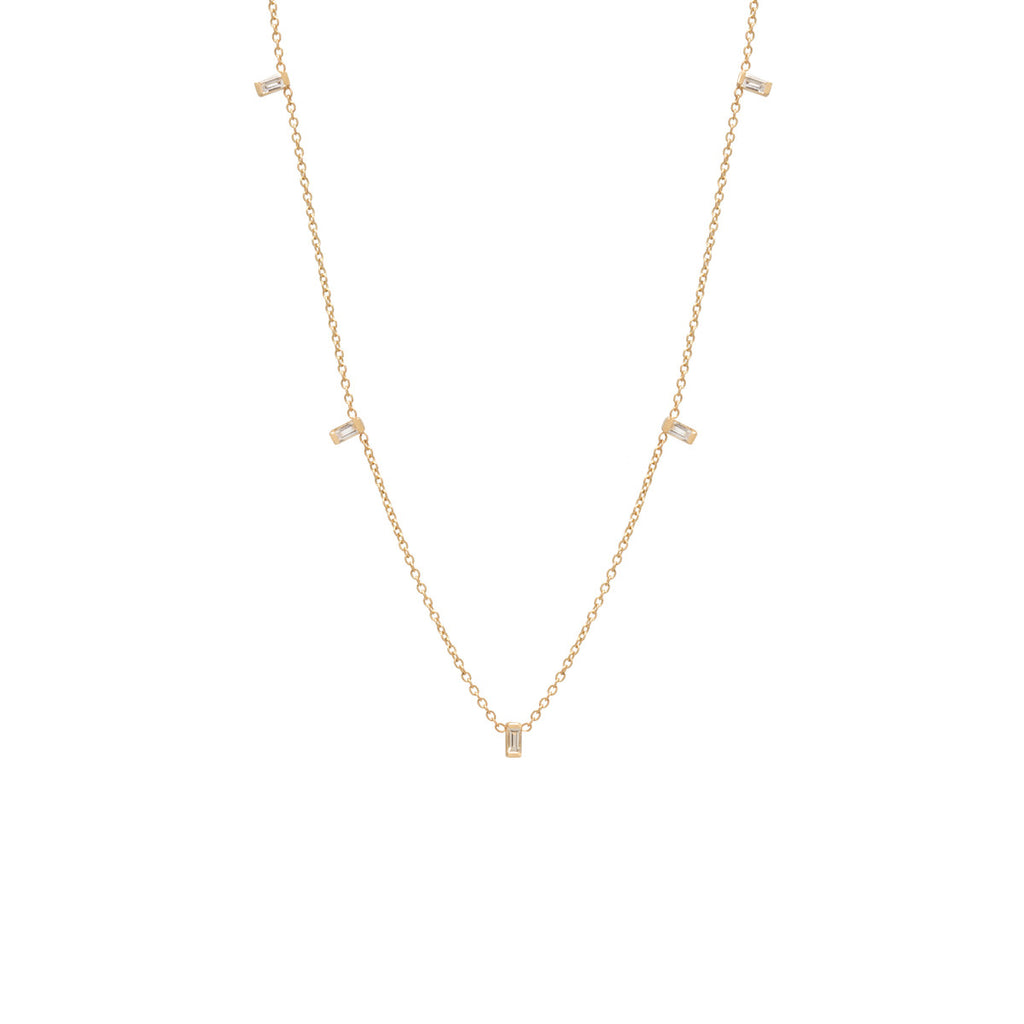 14k Vertical Baguette Station Necklace