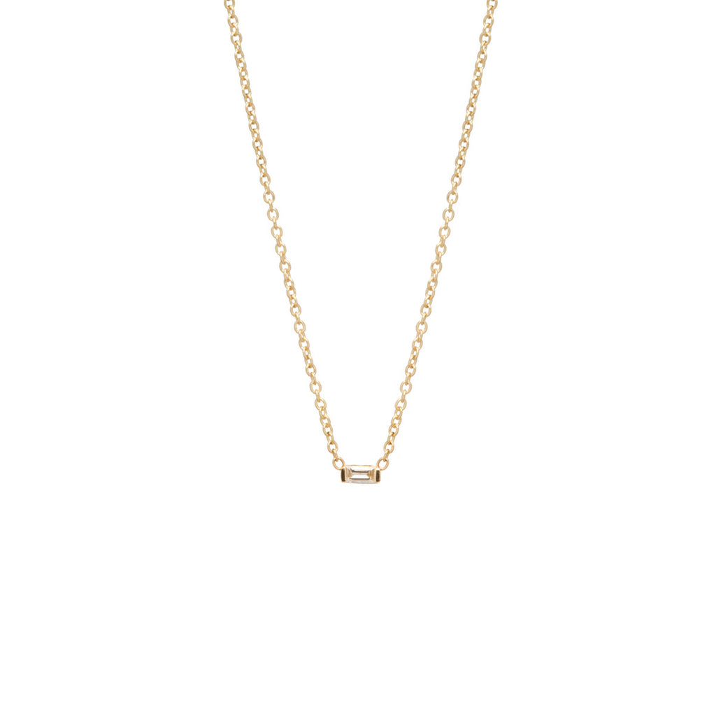 14k small baguette diamond necklace