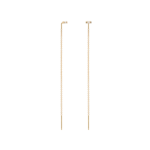 14k baguette stud long threaders