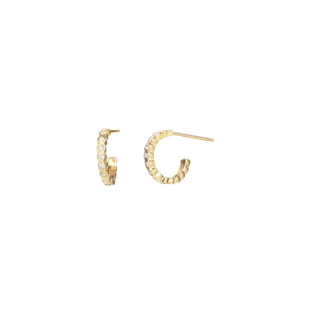 14k small bezel huggie hoops