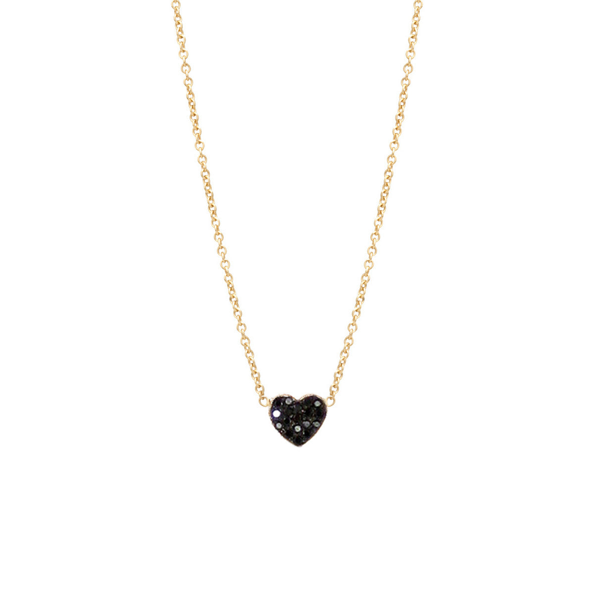 Zoë Chicco 14kt Yellow Gold Black Heart Diamond Pave Necklace