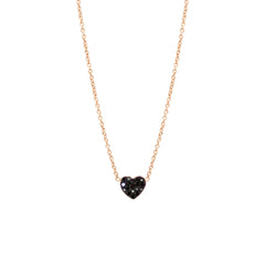 Zoë Chicco 14kt Rose Gold Black Heart Diamond Pave Necklace