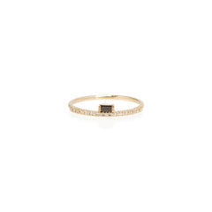 Zoë Chicco 14kt Yellow Gold Black Diamond Baguette White Diamond Pave Ring