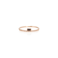 Zoë Chicco 14kt Rose Gold Black Diamond Baguette White Diamond Pave Ring