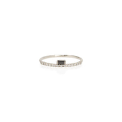 Zoë Chicco 14kt White Gold Black Diamond Baguette White Diamond Pave Ring