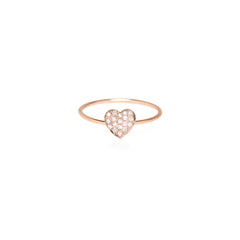 14k pave heart ring
