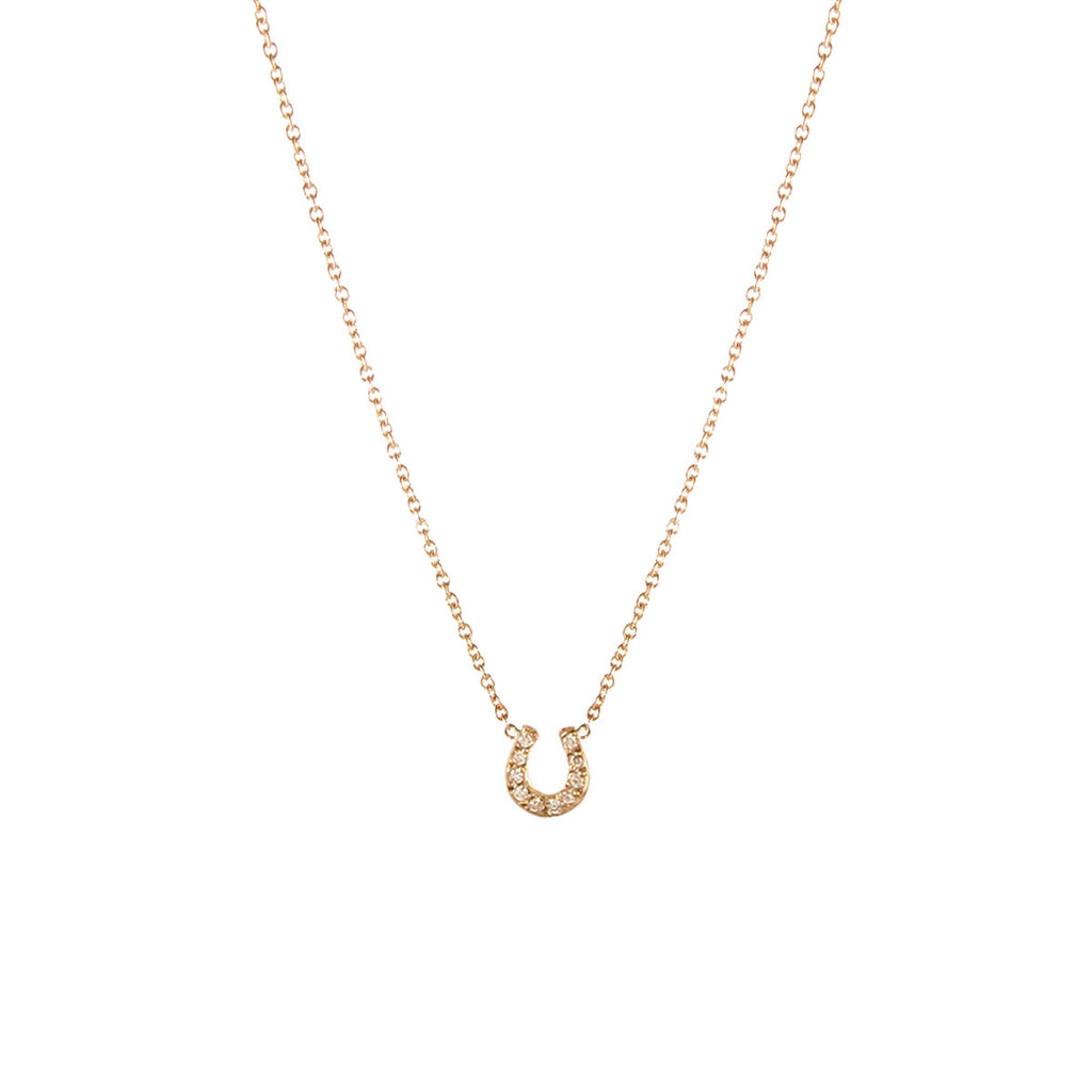 14k pave tiny horseshoe necklace