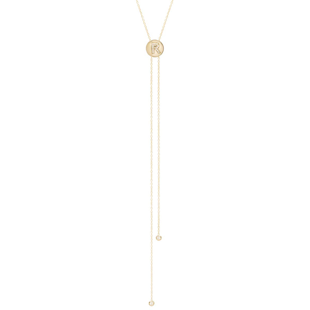 14k pave initial bolo necklace