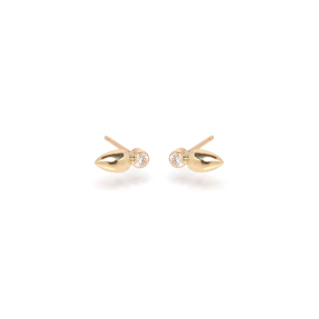 14k diamond medium bullet studs