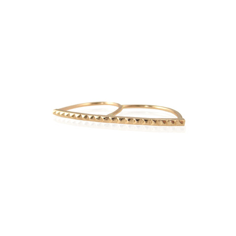 14k baby spike double finger ring