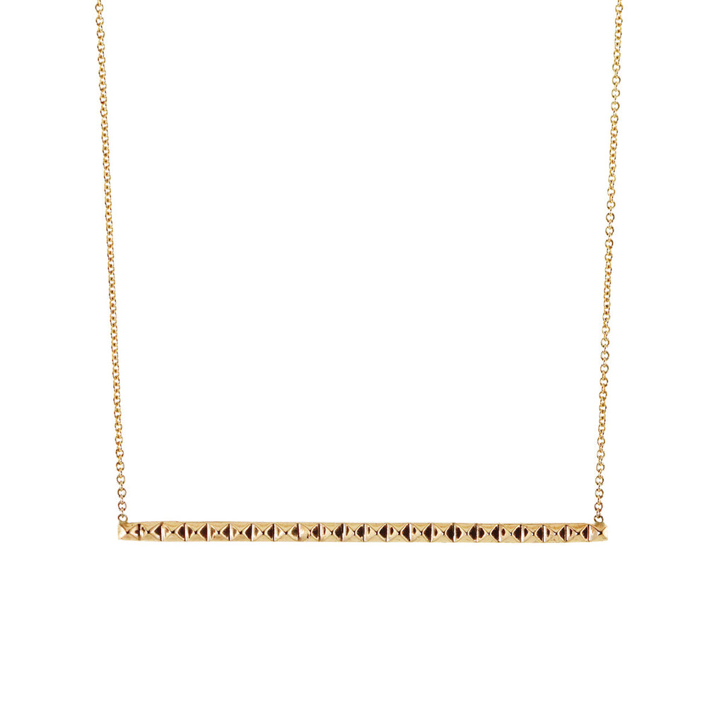 14k long spiked bar necklace