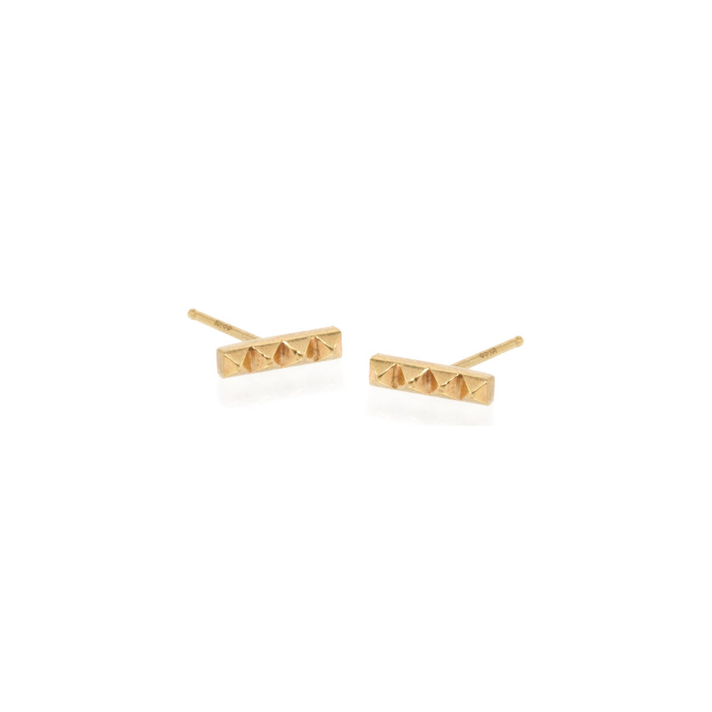 14k tiny spiked bar studs
