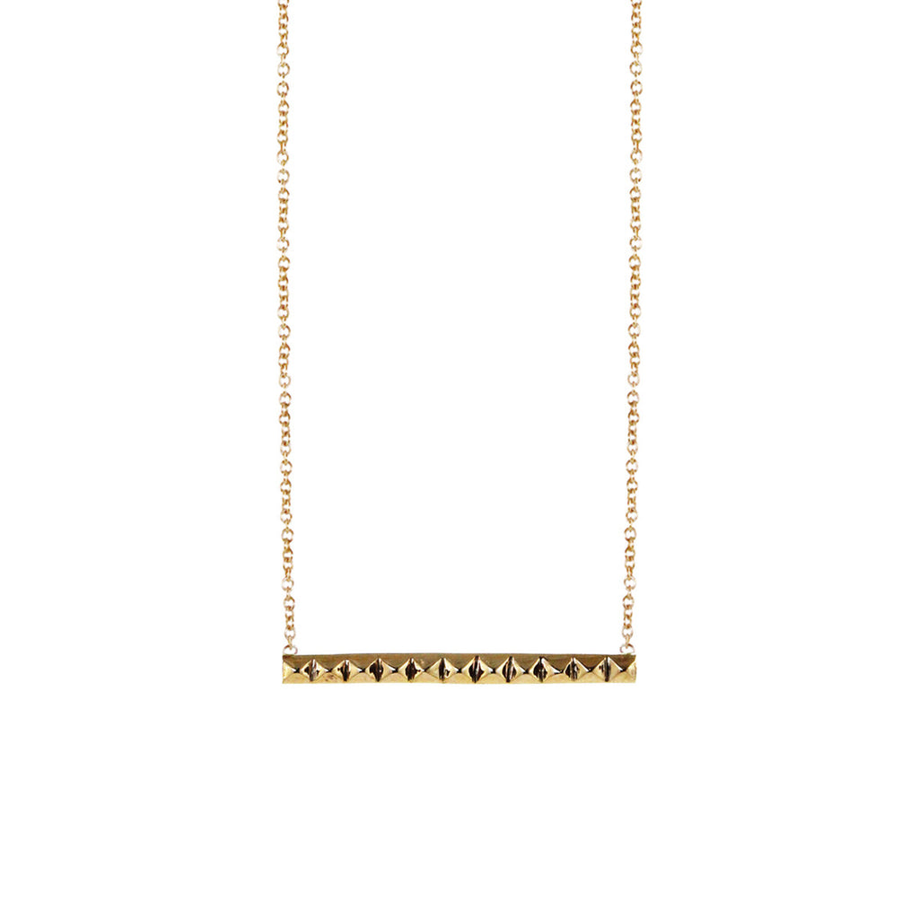 14k short spiked bar necklace