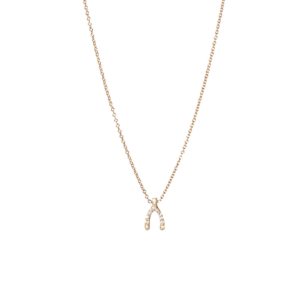 14k tiny pave wishbone necklace