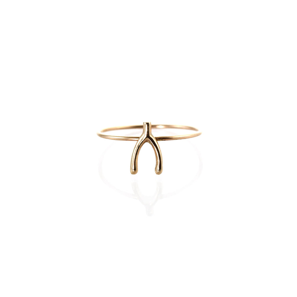 14k tiny wishbone ring