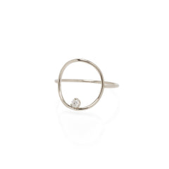 14k prong set diamond medium circle ring