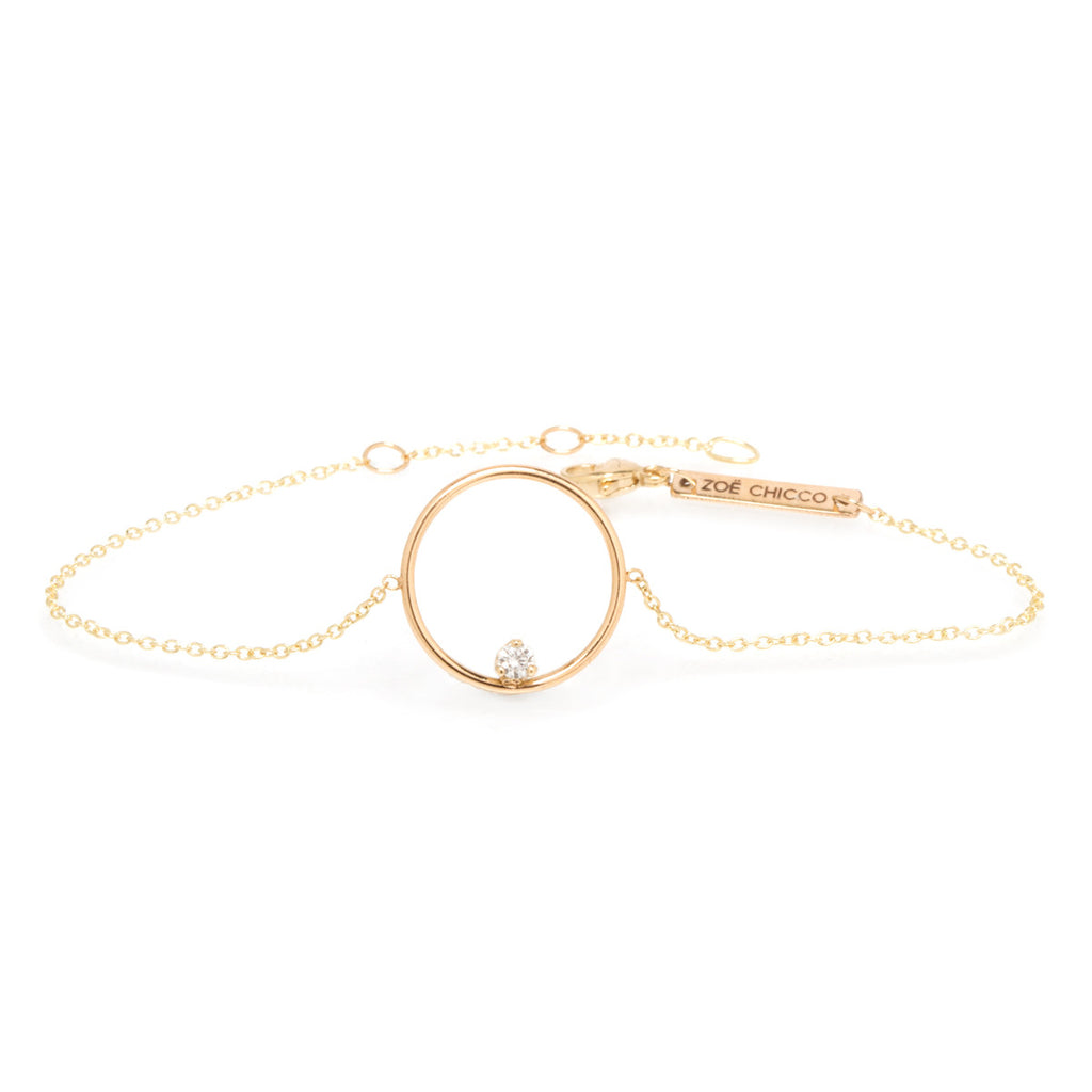14k prong set diamond medium circle bracelet