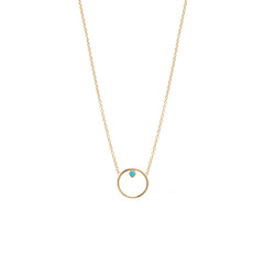 Zoë Chicco 14kt Yellow Gold Turquoise Circle Prong Necklace