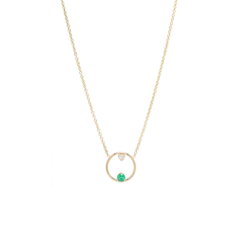 14k circle prong emerald and diamond necklace