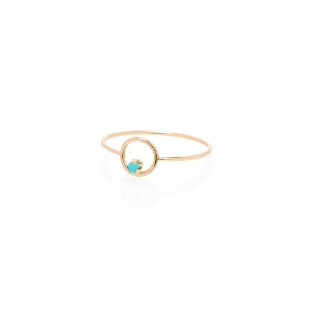 Zoë Chicco 14kt Yellow Gold Turquoise Circle Prong Ring