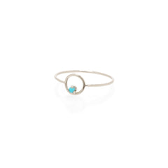 14k circle prong turquoise ring