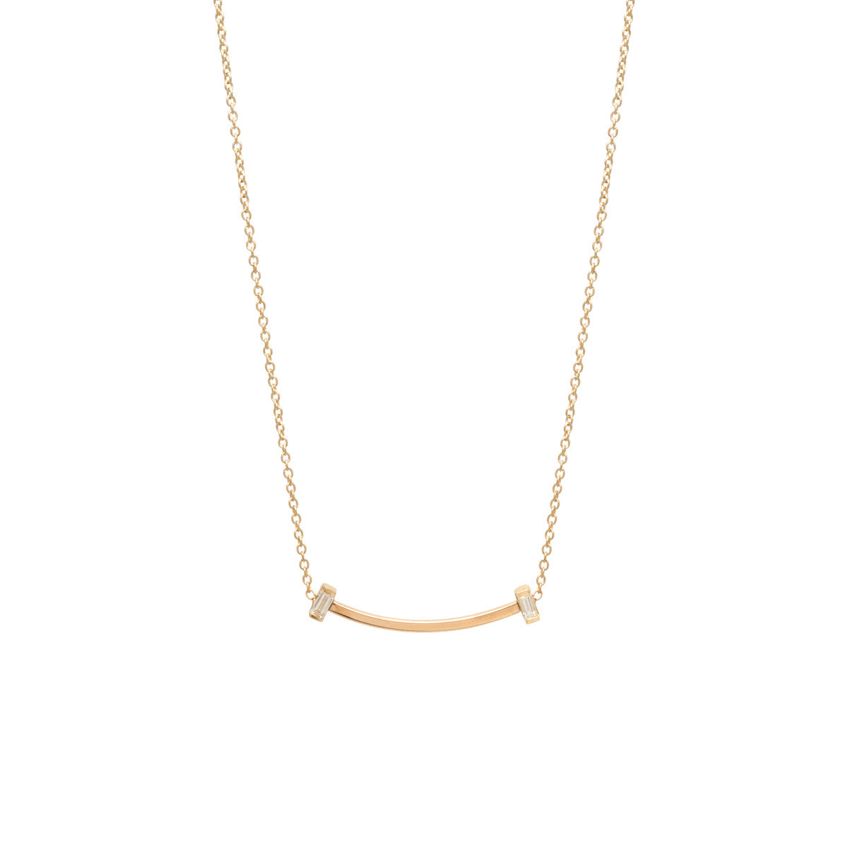 Zoë Chicco 14kt Yellow Gold Vertical Baguette Diamond Curved Bar Necklace