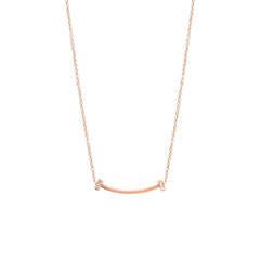 Zoë Chicco 14kt Rose Gold Vertical Baguette Diamond Curved Bar Necklace