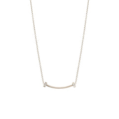 14k curved bar and baguette diamond necklace