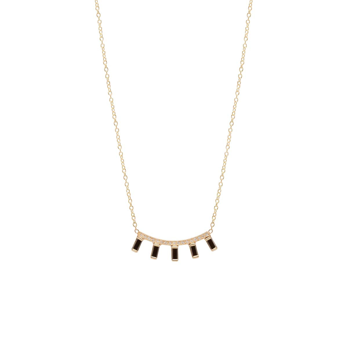 14k curved pave bar and 5 black baguette diamond necklace